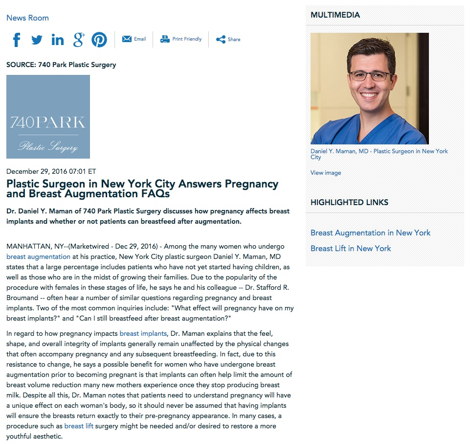 Dr. Daniel Maman answers common questions about pregnancy and breast augmentation.